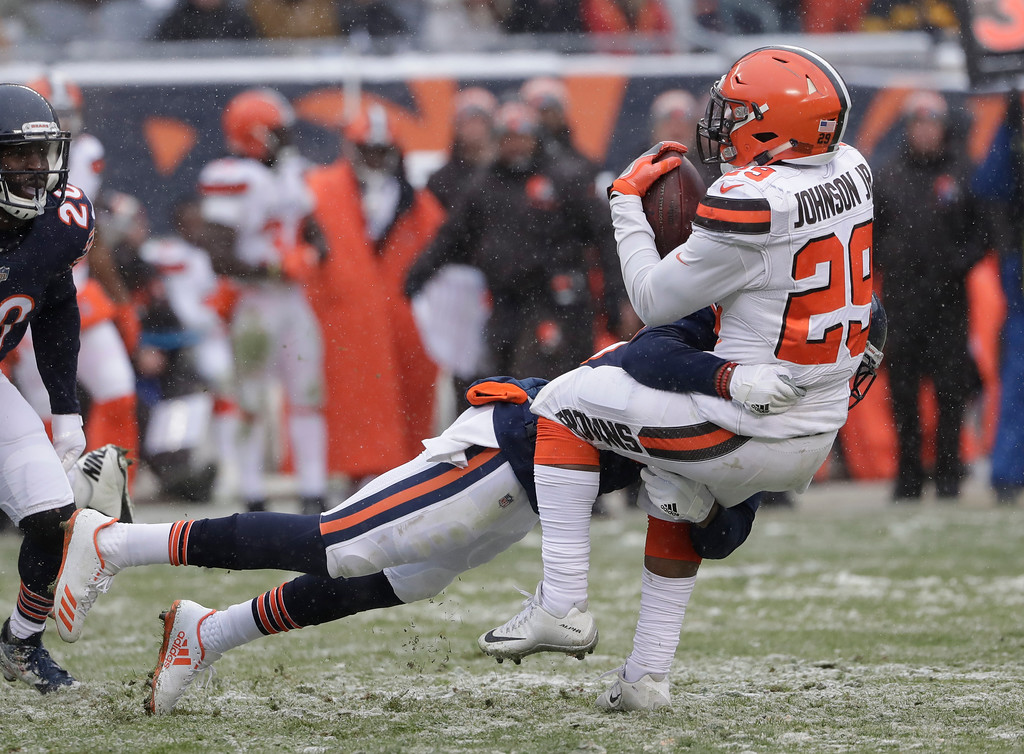. Chicago Bears free safety Eddie Jackson (39) tackles Cleveland Browns running back Duke Johnson (29) in the second half of an NFL football game in Chicago, Sunday, Dec. 24, 2017. (AP Photo/Nam Y. Huh)