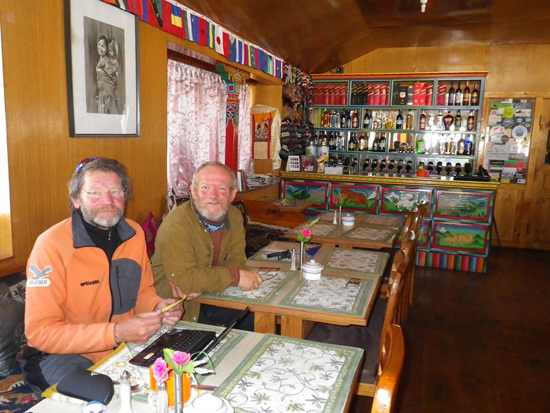 With Paul T. at Himalayan hotel in Pheriche (13,911ft = 4.240m) on May 23rd.