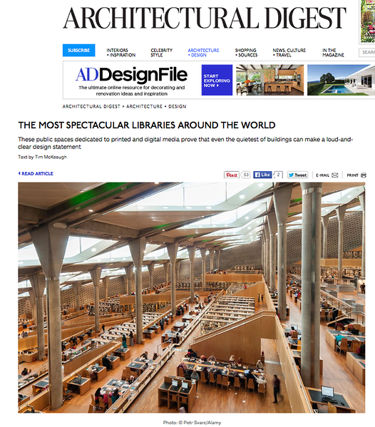 Photo of Library of Alexandria in Architectural Digest
