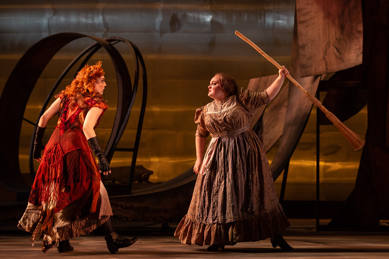 """Joanna Latini as the Vixen and Kayla Siemieda as the Forester's Wife in The Glimmerglass Festival's 2018 production of Janáček's """"The Cunning Little Vixen."""" Photo: Karli Cadel/The Glimmerglass Festival"""