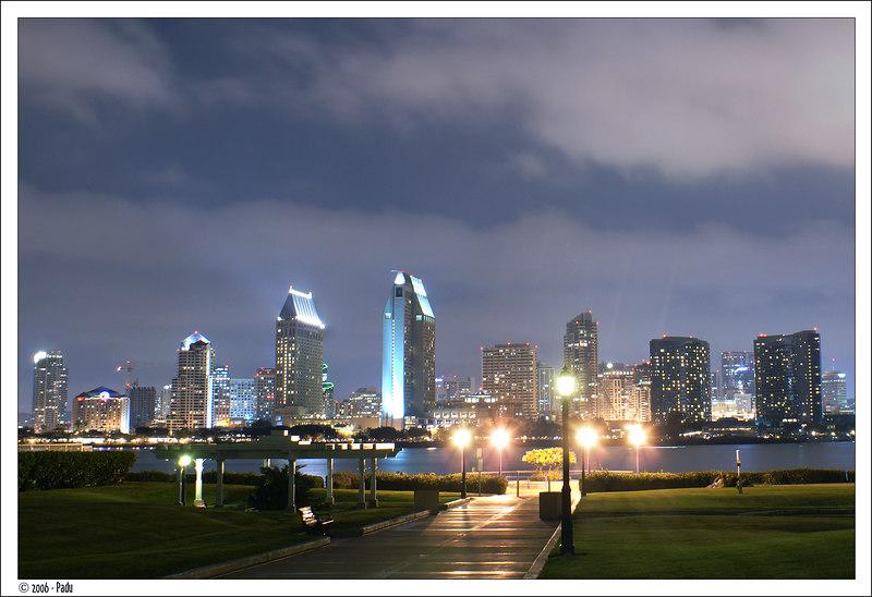 San Diego skyline at night taken from Coronado's ferry plaza.