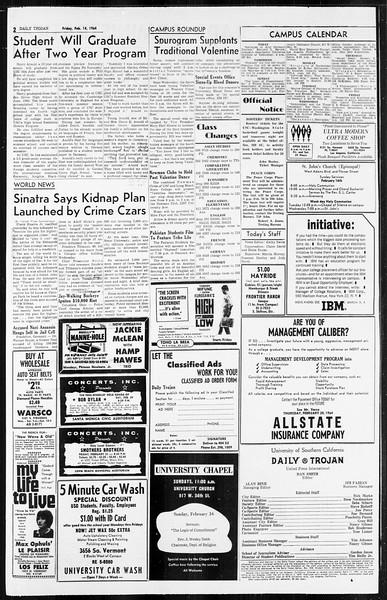 Daily Trojan, Vol. 55, No. 62, February 14, 1964