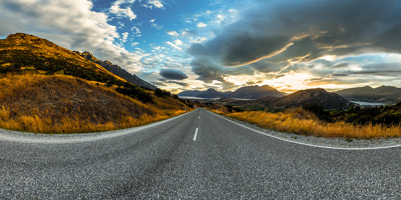 Sunset on the road at The Remarkables - Queenstown Lakes District