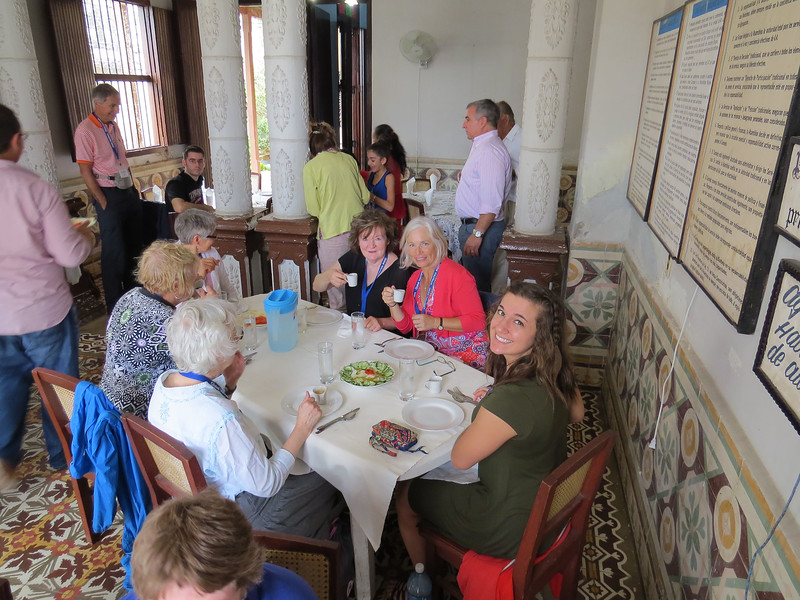 Our group enjoying lunch and cafe cubano at the Community Center where we taught English.