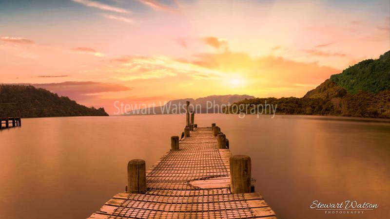 Lake Tarawera jetty sunset
