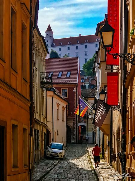 Cobblestone street in Bratislava