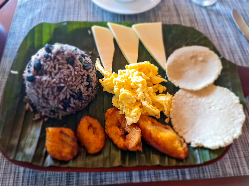 Traditional Costa Rica Gallo Pinto Breakfast on a Banana Leafe