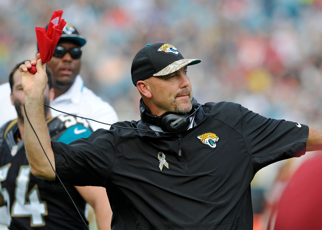 . Jacksonville Jaguars head coach Gus Bradley throws the red flag as he disputes a call by officials during the second half of an NFL football game against the Arizona Cardinals in Jacksonville, Fla., Sunday, Nov. 17, 2013. (AP Photo/Stephen Morton)