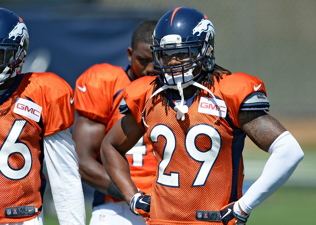 . Denver Broncos cornerback Bradley Roby (29) watches drills  at the Denver Broncos 2014 training camp August 11, 2014 at Dove Valley. (Photo by John Leyba/The Denver Post)