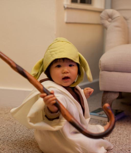 Clementine's Yoda Costume Halloween 2013