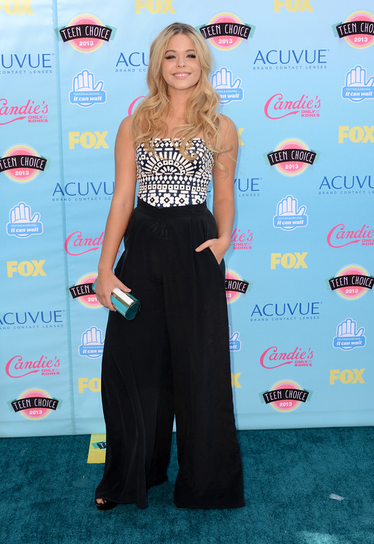 . Sasha Pieterse arrives at the Teen Choice Awards at the Gibson Amphitheater on Sunday, Aug. 11, 2013, in Los Angeles. (Photo by Jordan Strauss/Invision/AP)