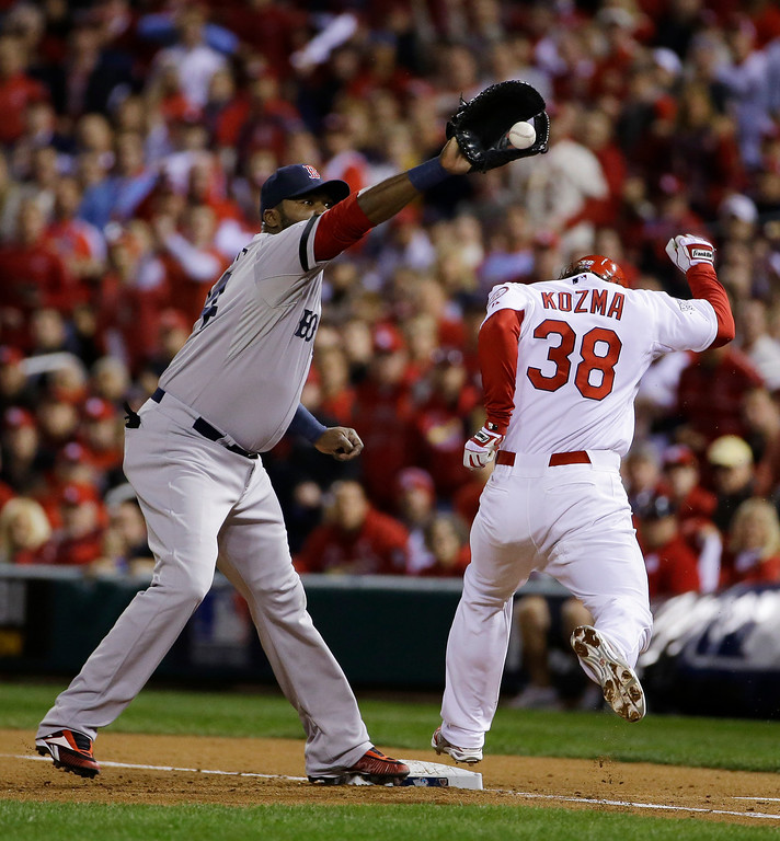 . St. Louis Cardinals shortstop Pete Kozma is out at first on a bunt as Boston Red Sox designated hitter David Ortiz takes the through during the third inning of Game 5 of baseball\'s World Series Monday, Oct. 28, 2013, in St. Louis. (AP Photo/Matt Slocum)