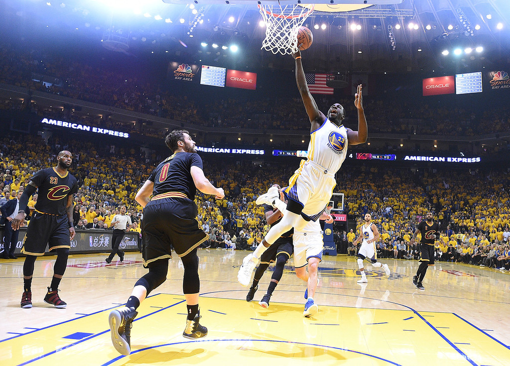 . Golden State Warriors forward Draymond Green (23) shoots against the Cleveland Cavaliers during the first half of Game 5 of basketball\'s NBA Finals in Oakland, Calif., Monday, June 12, 2017. (Kyle Terada/Pool Photo via AP)