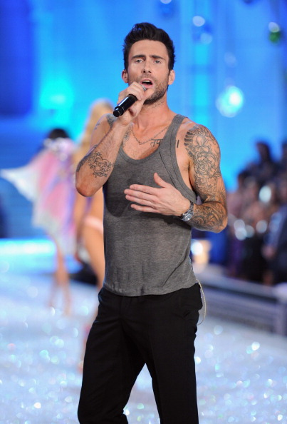 . NEW YORK, NY - NOVEMBER 09:  Adam Levine of Maroon 5 performs during the 2011 Victoria\'s Secret Fashion Show at the Lexington Avenue Armory on November 9, 2011 in New York City.  (Photo by Jamie McCarthy/Getty Images)