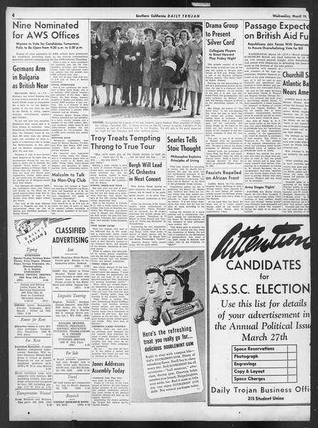 Daily Trojan, Vol. 32, No. 104, March 19, 1941