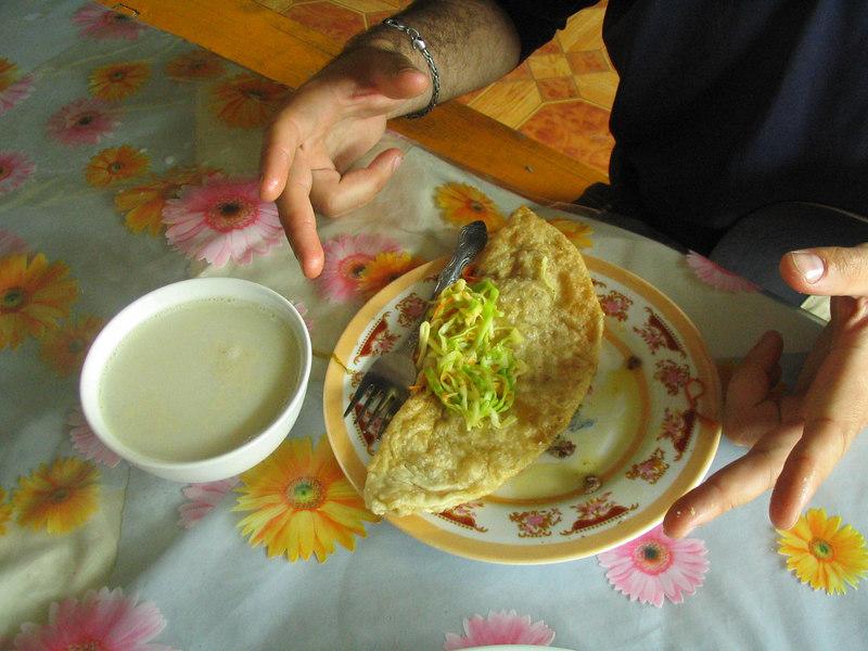 Scott's lunch: horshor and salty milk tea.