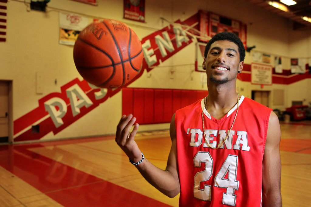 . Portrait of Pasadena High School basketball player Andre Spight who has been named Player of the Year. ( Pasadena Star-News Correspondent Photo by Nancy Newman )