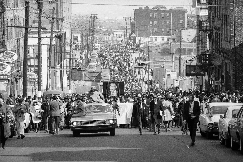 . Some of a crowd of 25,000 persons, about one third of them white, are seen as they march through the predominantly black central ward in Newark, N.J., April 7, 1968. The same area was torn by riots in July 1967. The march was dedicated to Dr. Martin Luther King Jr., slain by a sniper�s bullet on April 4 in Memphis, Tenn.   Newark has been spared the racial violence that has flared in other cities in the nation in the wake of Dr. King�s assassination. (AP Photo/John Duricka)