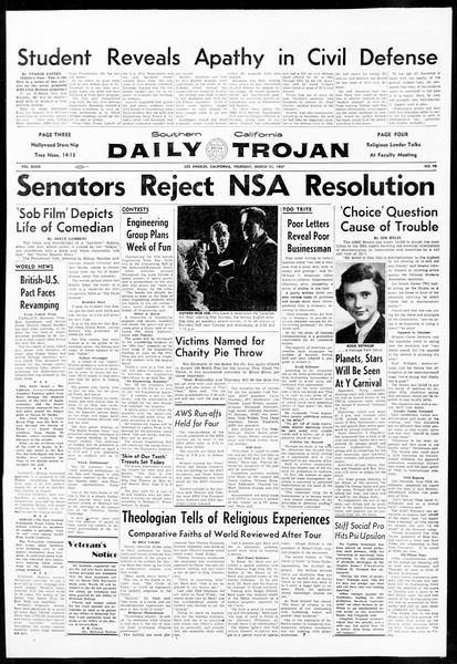 Daily Trojan, Vol. 48, No. 98, March 21, 1957