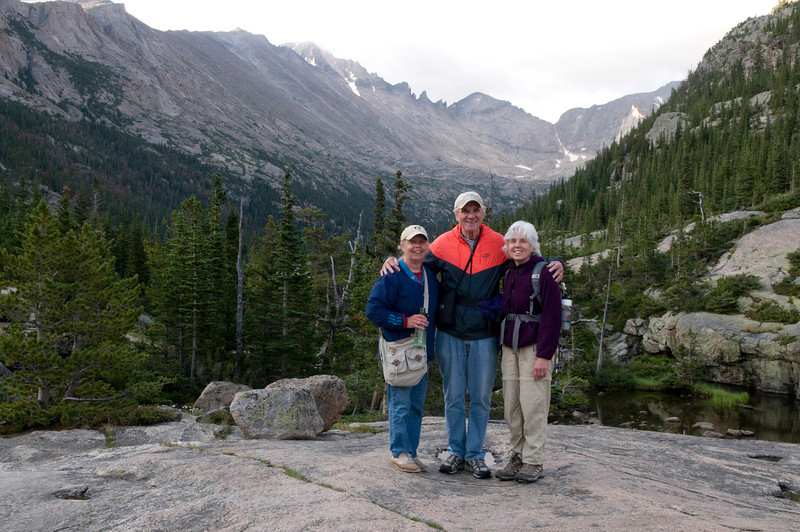 Karen, Lyn and Frank at Mills Lake, Rocky Mountain National Park, Colorado. Looking southeast, with the lake in the background.