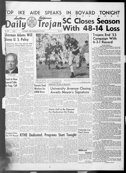 Daily Trojan, Vol. 45, No. 48, November 30, 1953