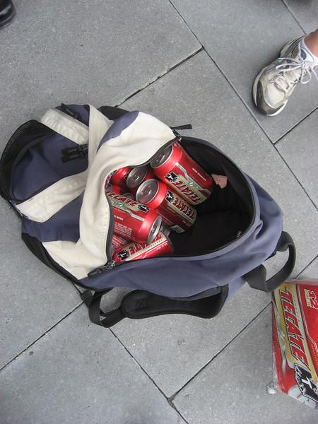 Beer, in backpack. Lots of it!