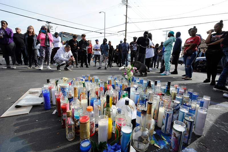 NIPSEY HUSTLE WAS KILLED ASSASSINATED YESTERDAY AFTERNOON WHILE STANDING OUTSIDE OF HIS STORE ON THE CORNER OF VICTORIA AND SLAUSON ON SUNDAY APRIL 1, 2019, PHOTOGRAPHER VALERIE GOODLOE