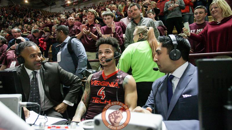 Seth Allen speaks with ESPN for a post-game interview. (Mark Umansky/TheKeyPlay.com)