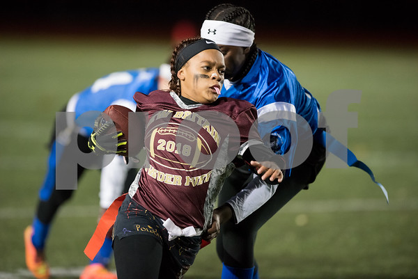 11/22/17 Wesley Bunnell | Staff Southington defeated New Britain in the annual Powder Puff game at Veterans Stadium in New Britain on Wednesday night. Nariely Andujar (6).