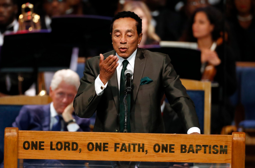 . Smokey Robinson blows a kiss during the funeral service for Aretha Franklin at Greater Grace Temple, Friday, Aug. 31, 2018, in Detroit. Franklin died Aug. 16, 2018 of pancreatic cancer at the age of 76. (AP Photo/Paul Sancya)