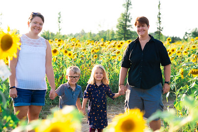 Kim, Sarah and the twins in the sunflowers