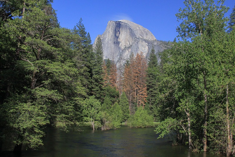What follows are seven day and night comparisons of selected scenes at Yosemite. This is Half Dome from a stone bridge in daytime. The night shots offer different emphasis and lighting possibilities.