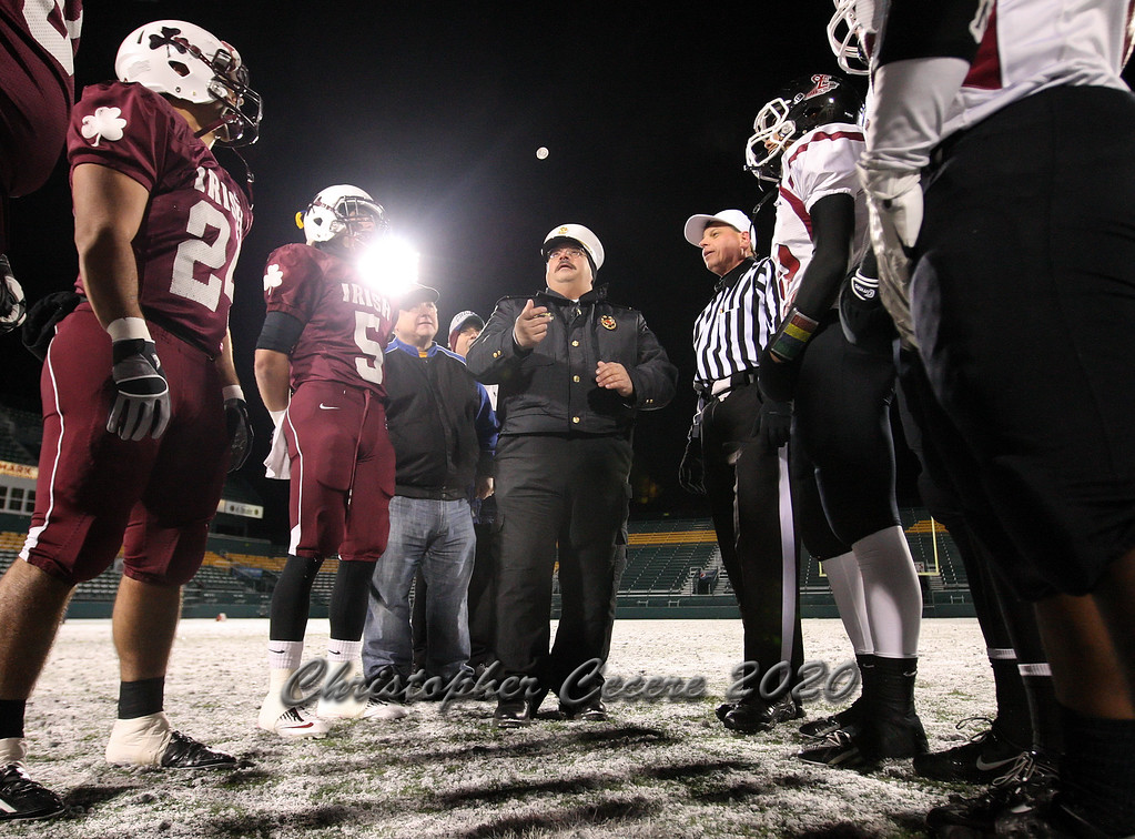 November 23, 2013;  Rochester, NY; USA; Coin toss during NYSPHSAA Class AA Semifinal: Elmira Free Academy Express vs. Aquinas Lil Irish at Sahlen's Stadium  Photo: Christopher Cecere