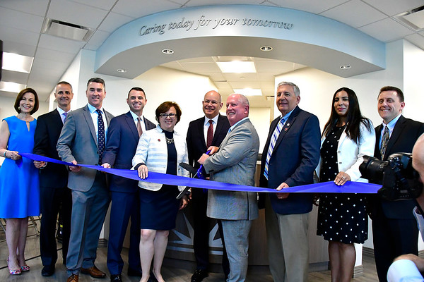 6/7/2019 Mike Orazzi | Staff The ribbon cutting for Bristol Health's new downtown building on Friday.