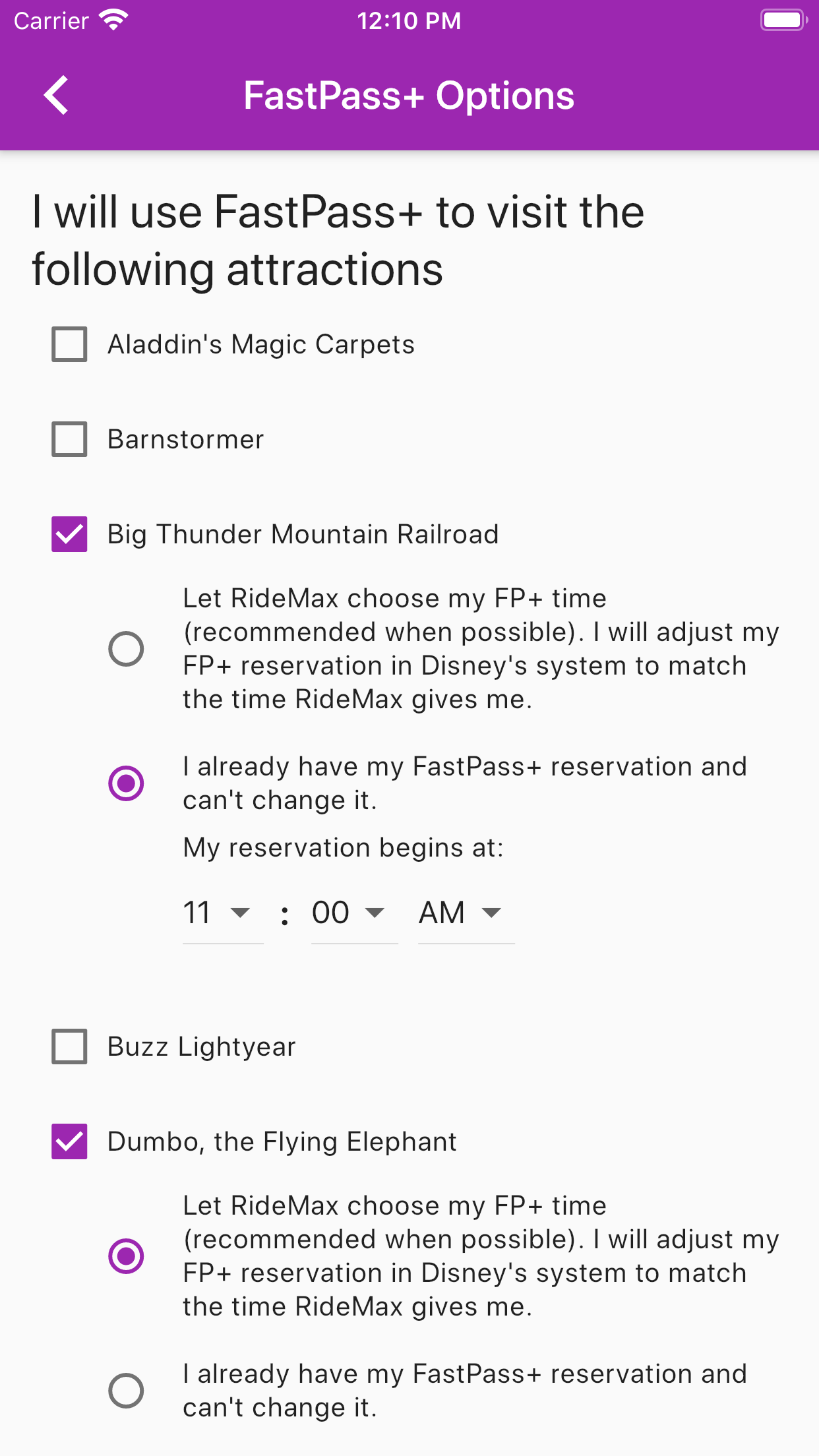 RideMax App - FastPass+ Options