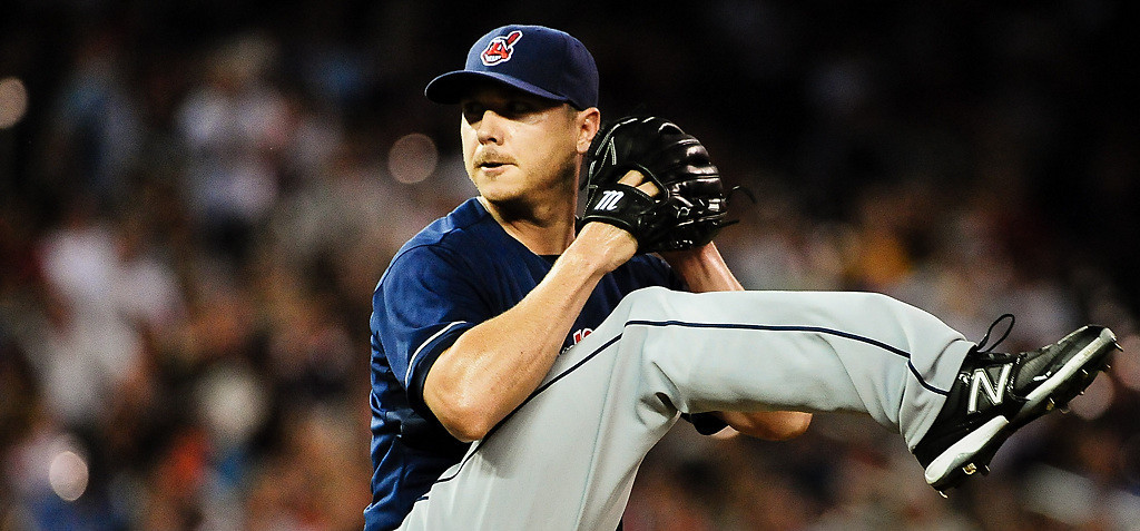 . Cleveland Indians starting pitcher Scott Kazmir winds up in the 5th inning. (Pioneer Press: Ben Garvin)