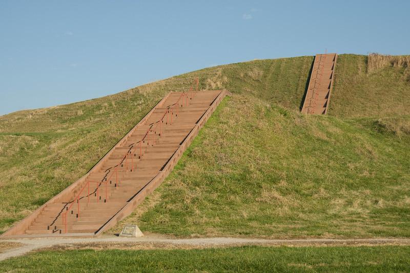 Close-up shot of Monks Mound in Cahokia, Illinois, USA