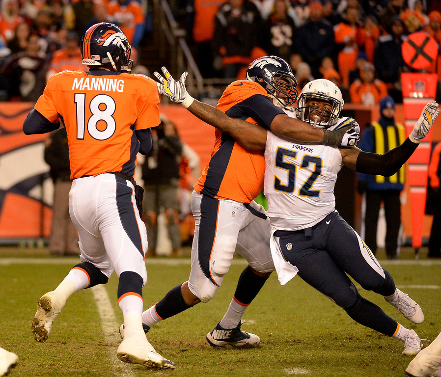 . Denver Broncos tackle Chris Clark (75) keeps San Diego Chargers outside linebacker Reggie Walker (52) from getting to Denver Broncos quarterback Peyton Manning (18) during the fourth quarter. The Denver Broncos vs. The San Diego Chargers in an AFC Divisional Playoff game at Sports Authority Field at Mile High in Denver on January 12, 2014. (Photo by John Leyba/The Denver Post)