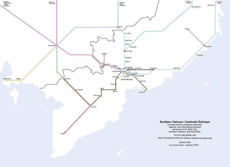 Southern Vietnam and Cambodia Railways Concept Map