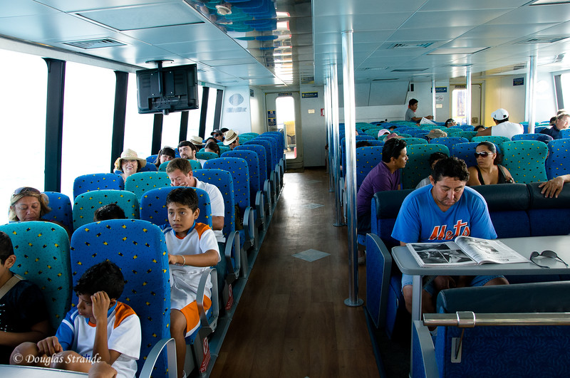 Inside the ferry, Louise, Ruth, Paul and I are headed back to the mainland to travel to the Mayan ruins at Chichen Itza
