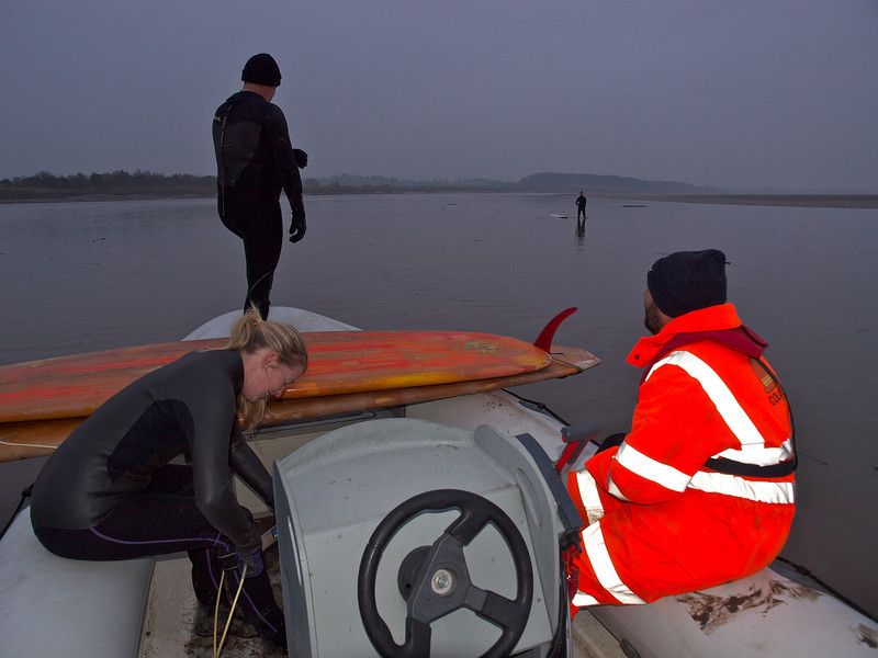 Early morning arrival on the river Severn awaiting the bore arrival.