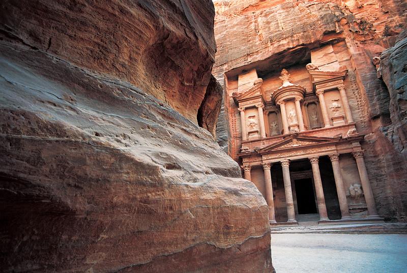 Rock and Al Khazneh (Treasury), Petra, Jordan