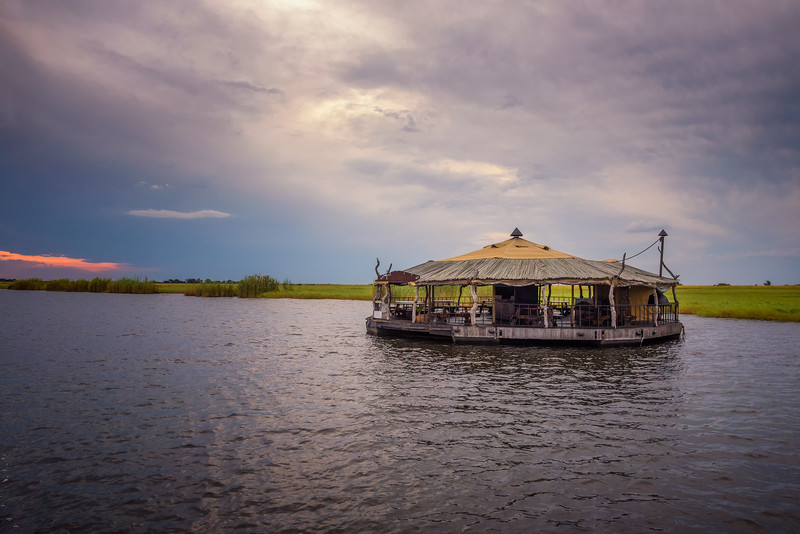 Floating bar and cafe on Chobe river in Botswana, south Africa