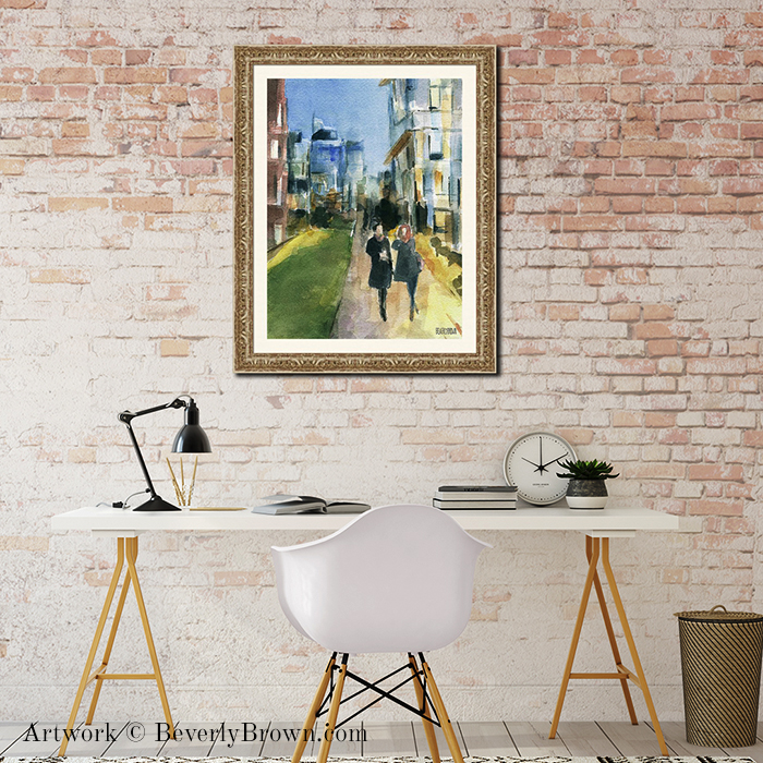 """New York themed art for the office, featuring """"Couple Walking on the New York Highline"""" framed New York Wall Art by Beverly Brown - www.beverlybrown.com"""