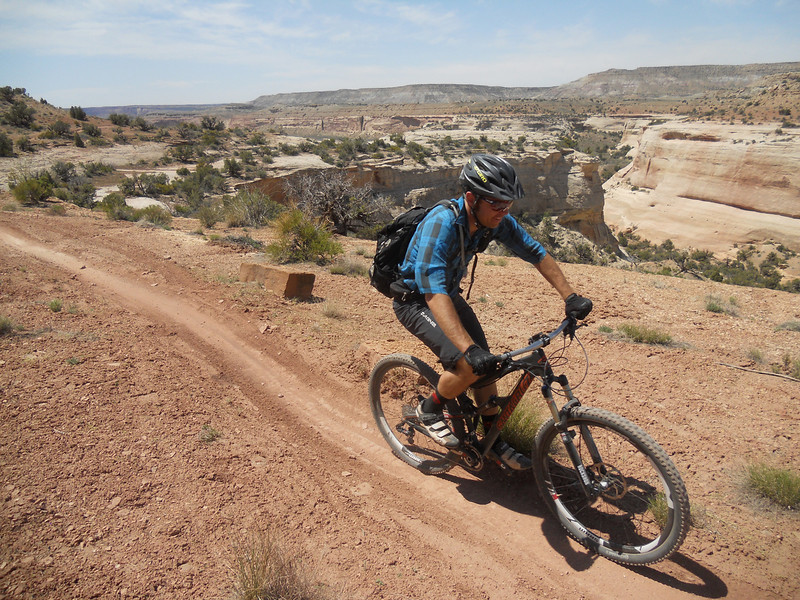 . Josh Coffin, a guide for Western Spirit Cycling Adventures, travels along the West Rim trail in Utah. Handout Photo