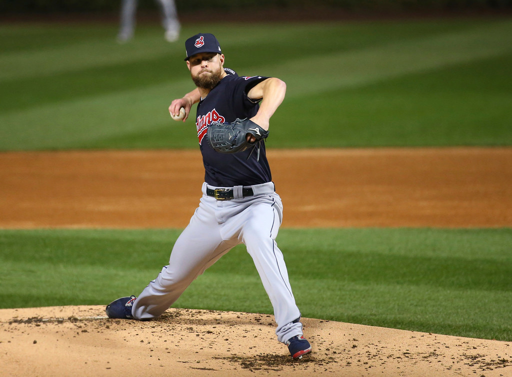 . Cleveland Indians starting pitcher Corey Kluber throws during the first inning of Game 4 of the Major League Baseball World Series against the Chicago Cubs Saturday, Oct. 29, 2016, in Chicago. (AP Photo/Jerry Lai, Pool)