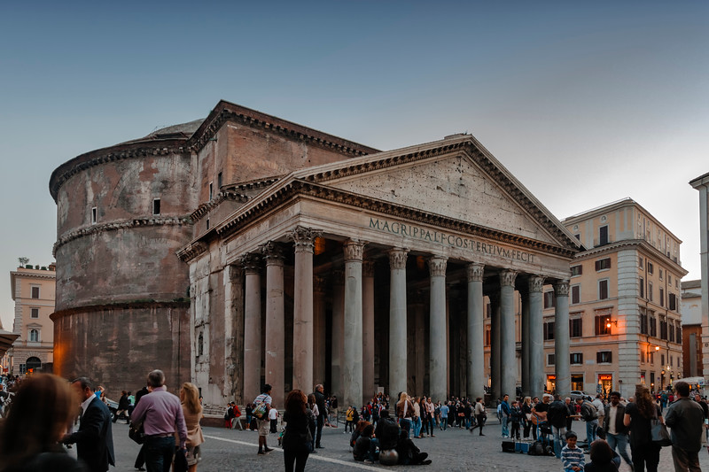 Pantheon with tourists in Rome, Italy
