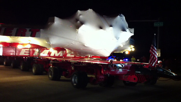 The arrival of the Muon g-2 electromagnet from Brookhaven National Laboratory in N. Y. to Fermilab National Accelerator Laboratory in Batavia, Ill 7-26-13
