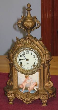 "Ansonia ""Versailles"" Metal Mantel Clock"