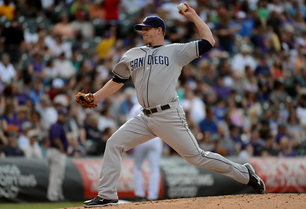 . Denver, CO. - June 08: Eric Stults of San Diego Padres pitches against Colorado Rockies at Coors Field. Denver, Colorado. June 8, 2013.  (Photo By Hyoung Chang/The Denver Post)
